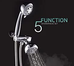 FLOWELL, AMG and Enchante Accessoies Shower Head (Fixed Showerhead with Handheld), SH74A, Chrome finish