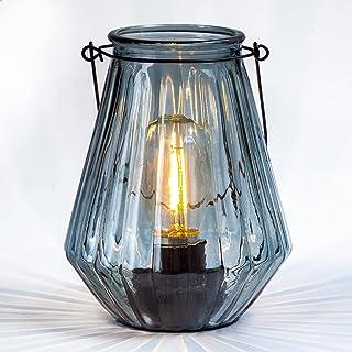 MJ PREMIER Lampe de table, lanterne en verre à suspendre décorative avec minuteur, lampe de chevet pour chambre à coucher,...