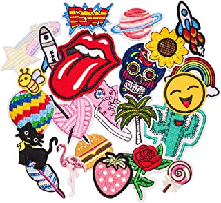 Butie. Dozens of Sets Available. Iron On Patches, 22Pcs Embroidered Flowers Patches Applique Kit Assorted Size Decoration Sew On Patches for Clothing, Jackets, Backpacks, Jeans (22PCS-RF-46)