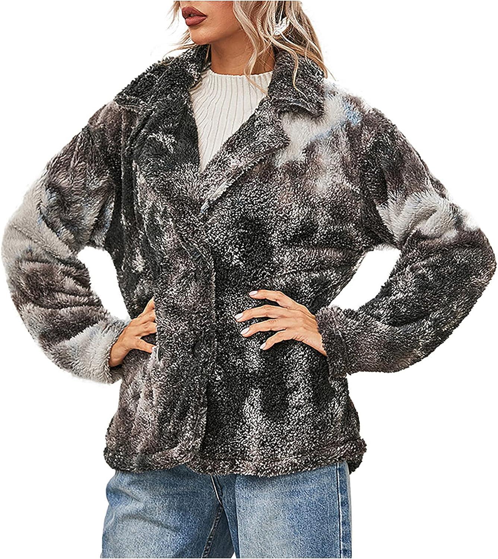 Women Tie-Dye Printed Coats Double-Side Plush Long-Sleeved Buttons Lapel Wrap Hoodie Fuzzy Warm Jacket Tops