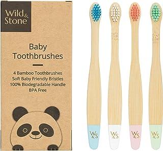 Biologische baby bamboe tandenborstel   Vier kleuren   Zachte vezelharen   100% biologisch afbreekbaar handvat   BPA vrij...