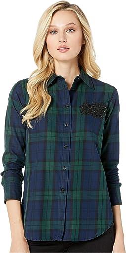 a14e046f526 LAUREN Ralph Lauren. Plus Size Patch Tartan Cotton Shirt.  135. Patch Tartan  Cotton Shirt