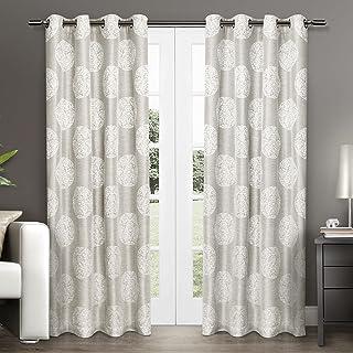 Exclusive Home Curtains Akola Medallion Linen Jacquard Grommet Top Curtain Panel Pair, 54x84, Dove Grey, 2 Piece,EH7918-02...