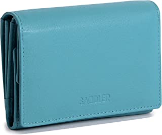 SADDLER Womens Real Leather Flap Purse Wallet with Trifold Note Section | Ladies Compact Purse For ID Coins Notes Debit Travel Cards | Gift Boxed - Teal