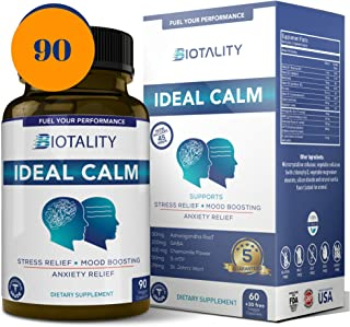 Ideal Calm Natural Mood Enhancer and Mood stabilizer; Serotonin Mood Booster and cortisol Manager for Natural Anxiety Relief, 6 Week Supply with Ashwagandha, Chamomile, St. John's Wort