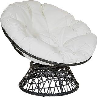 OSP Designs Papasan Chair with 360-degree Swivel, White Cushion and Black Frame