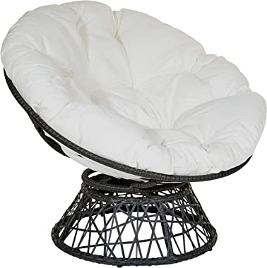 OSP Home Furnishings Wicker Papasan Chair with 360-Degree Swivel, Grey Frame with White Cushion