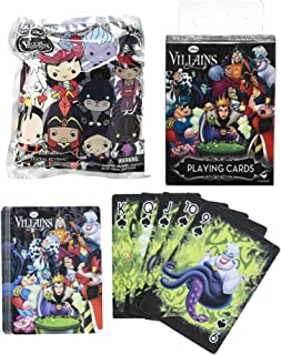 Evil Vile Villains Collection Disney 3D Blind Bag Figure Keychain Villain Series + Playing Card Deck Featuring Ursula / Cruella & Maleficent Characters