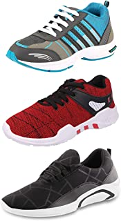 Chevit Sports Combo Pack of 3 Sneakers for Men (Grey, Red & Black)