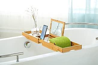 "Mosa Natural Bamboo Bathtub Tray Bath Caddy Book Wine Glass Holder, 27.6"" X 8.7"" X 1.9"""