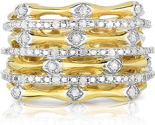 خاتم NATALIA DRAKE 1/4 Cttw الماس الحلزوني للنساء في الذهب الأصفر مطلي الفضة الإسترليني (لون I-J/Clarity I2-I3)