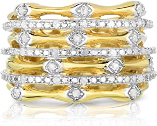 1/4Cttw Spiral Diamond Ring in Gold Over Silver