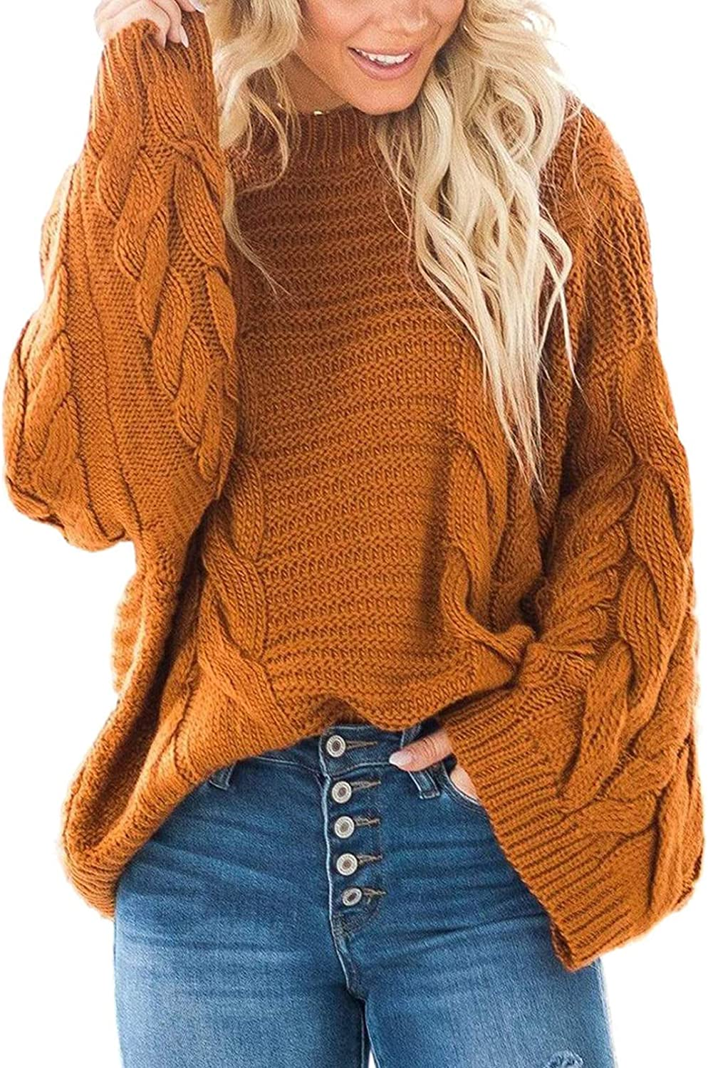 Ecrocoo Women's Sexy Off Shoulder Cable Knit Oversized Sweater Long Sleeve Loose Fall Pullover Jumper