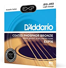 D'Addario EXP16 Coated Phosphor Bronze Acoustic Guitar Strings, Light, 12-53 – Offers a Warm, Bright and Well-Balanced Aco...