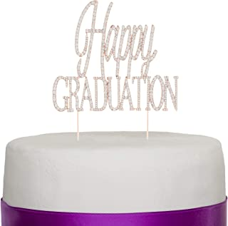 Ella Celebration Happy Graduation Rhinestone Cake Topper Graduate Party Supplies and Decor (Rose Gold)