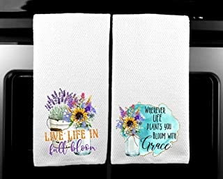 Live LIfe in Full Bloom - Bloom with Grace Gift for Women Spiritual Microfiber Kitchen Towel Set of 2