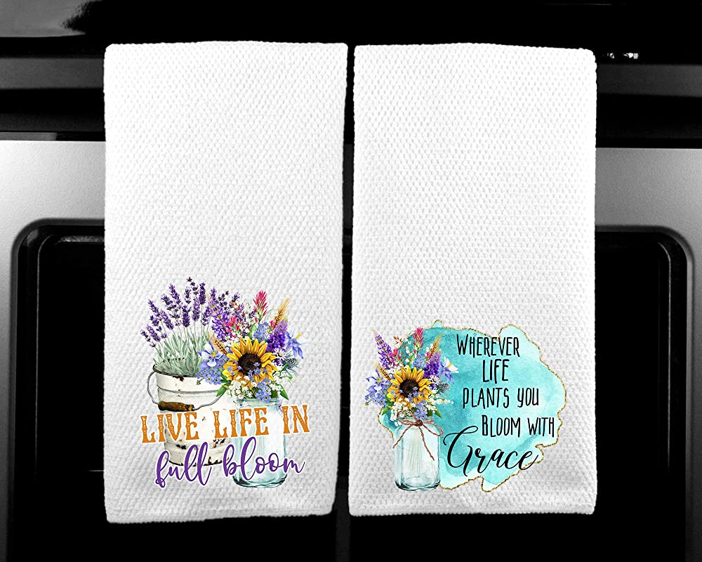 Live LIfe In Full Bloom Bloom With Grace Gift For Women Spiritual Microfiber Kitchen Towel Set Of 2