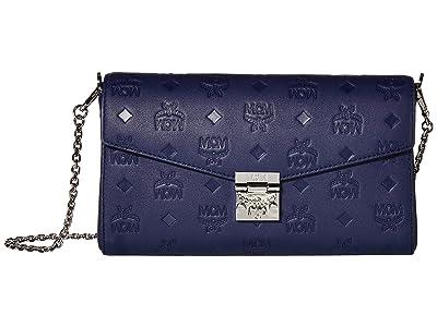 MCM Millie Monogrammed Medium Crossbody (Navy Blue) Handbags