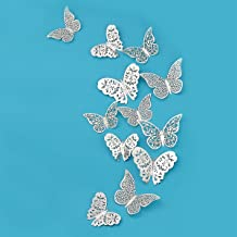 pinkblume Silver Butterfly Decorations 3D Wall Decals Metallic Art Sticker DIY Man-Made Removable Decorative Paper Murals for Home Living Room Kids Girls Bedroom Nursery Party Decor (36 PCS)
