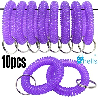 Shells 10PCS Crystal Purple Color Soft Highly Spring Spiral Coil Wrist Band Key Ring Chain