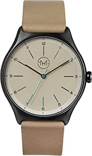 slim made one 12 - Black Case, Creme Dial, Beige Leather