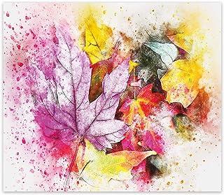Decorita 10011507228 Renkli Yapraklar Cam Ocak Arkası Koruyucusu, 49,5cm x 76cm