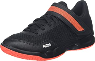 Puma Unisex Rise XT 4 Jr Black-Silver-Nrgy Red Badminton Shoes-6 UK (39 EU) (7 Kids US) (10563601)