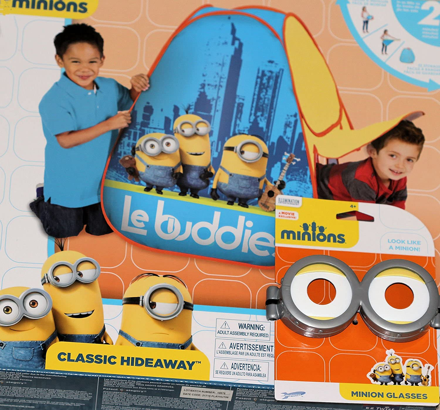 Minions Kids Play Tent by Playhut   Play Teepee Minion Toys   Indoor Tents   Minions Glasses Costume   2 Item Bundle