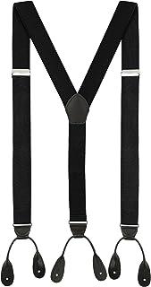 Suspenders for Men Leather Button End Elastic Tuxedo Y Back Mens Suspenders Pant Braces