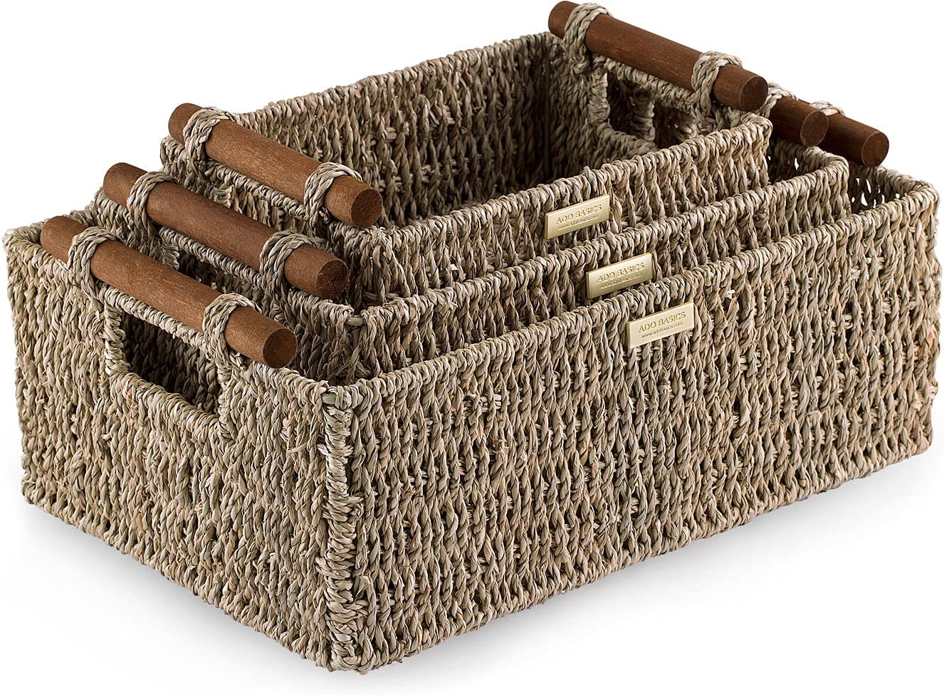 ADO Basics Wicker Basket with Stain Handles Baltimore Mall Sale SALE% OFF Resistant Se Wooden
