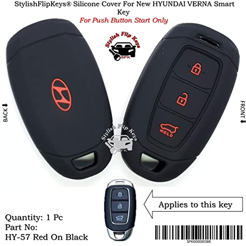 StylishFlipKeys® Silicone Key Cover Hyundai Verna Push Button Start Model Only (Please Check Second Image) (HY-57-Red-On-Black)