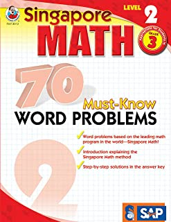 Singapore Math – 70 Must-Know Word Problems Workbook for 3rd Grade Math, Paperback, Ages 8–9 with Answer Key