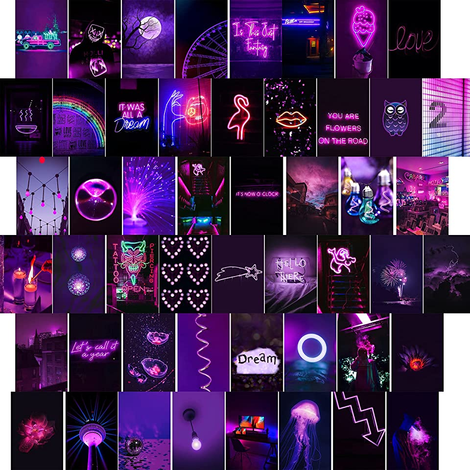Purple wall collage kit aesthetic pictures - 50Pcs 3.5×5.9 inch pictures