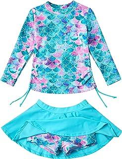 ملابس السباحة للبنات من swimsobo Rashguard قطعتين طويلة الأكمام 3-12T