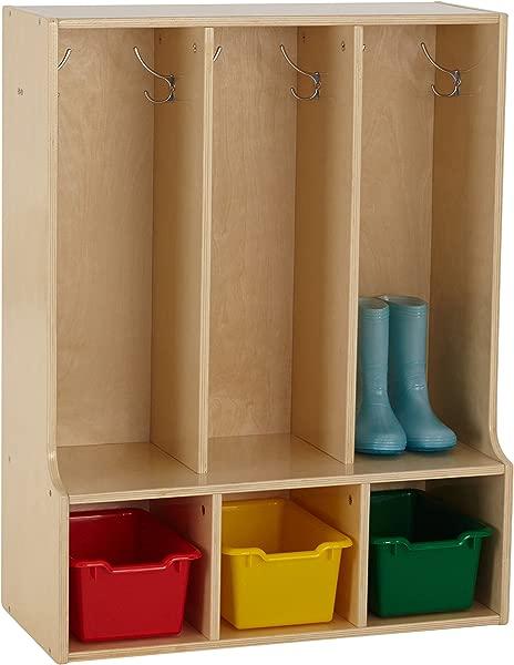 ECR4Kids Birch Streamline Classroom Locker With Bench Hardwood Coat Backpack Storage For Kids 3 Section Toddler 36 H