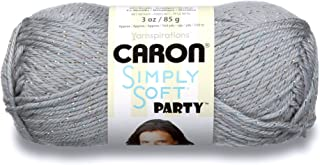 Caron Simply Soft Party Yarn, 3 oz, Medium Worsted 4 Gauge, - Silver - For Crochet, Knitting & Crafting