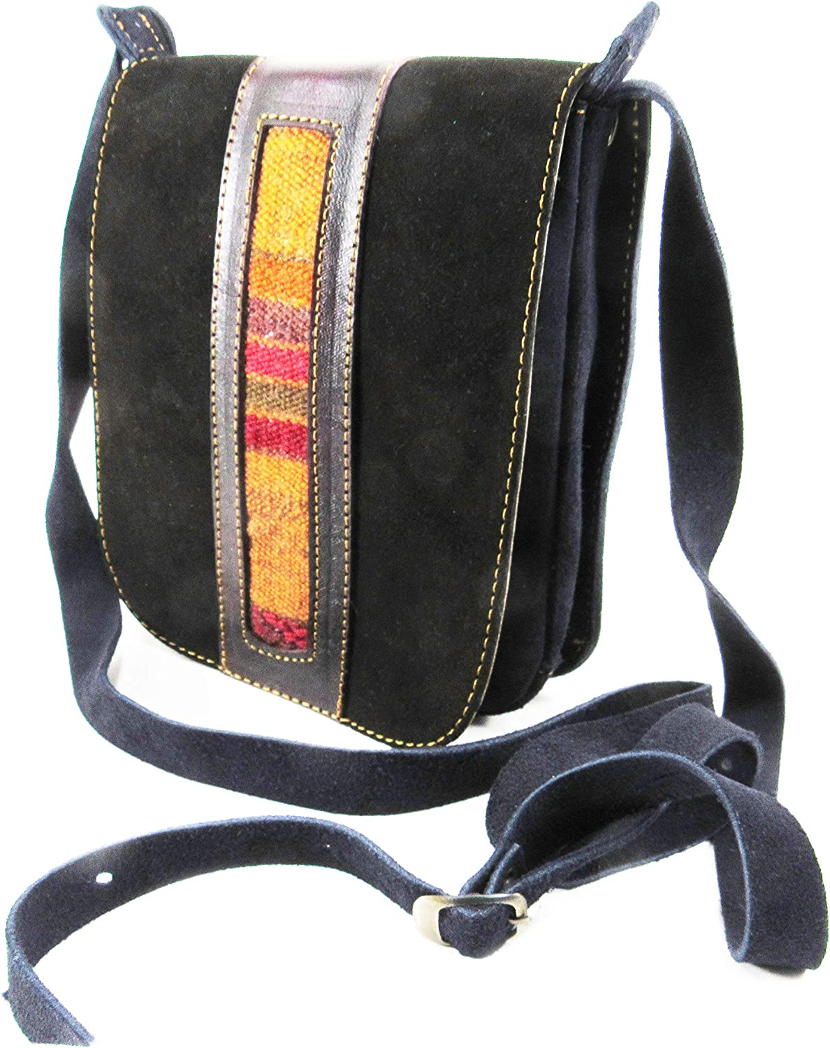 CHAMOIS LEATHER PURSE HANDBAG WITH GENUINE INKA TEXTILE FOR WOMEN BY MACHU PICCHU STORE 201303