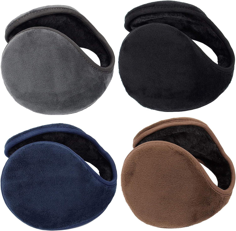 HUIHE Thicken Ear Warmers for Men & Women,Classic Fleece Unisex Winter Warm Earmuffs-Pack of 4