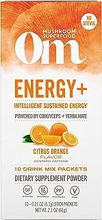 Om Organic Mushroom Nutrition Energy + Mushroom Superfood Drink Mix, Citrus Orange, Intelligent Sustained Energy, 10 Count