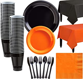 Party City Black and Orange Plastic Tableware Kit for 50 Guests, 487 Pieces, Includes Plates, Napkins, and Table Covers