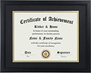 ELSKER&HOME 8.5x11 Certificate Frame - Classic Black Color Frame - Displays Diploma 8.5x11 Inch with Mat - 11x14 Inch Without Mat - For Document/Photo(Double Mat - Matte Black with Gold Rim)