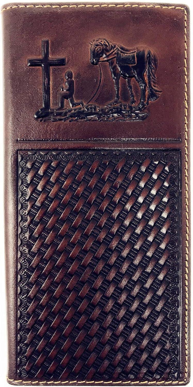 Premium Genuine Western Mens Embossed Basketweave Cowboy Long Wallet in Multi Emblem (Praying Cowboy)
