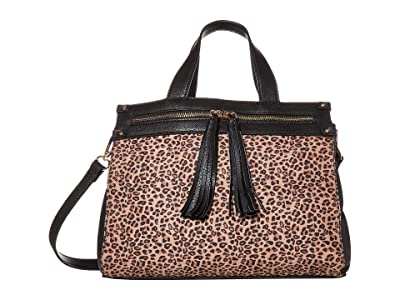 SOLE / SOCIETY Zypa Satchel 3 (Black Leopard) Handbags