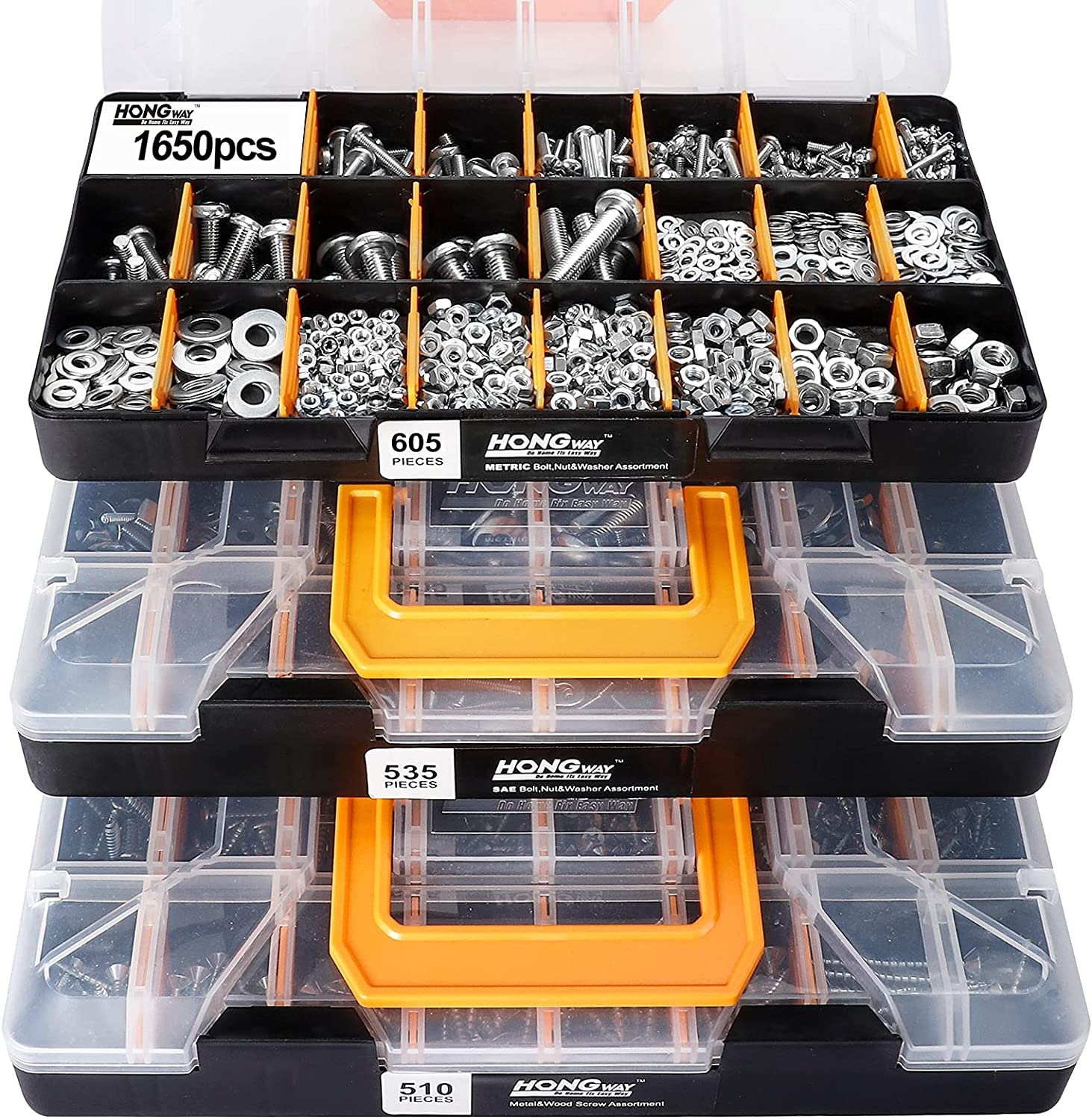 HongWay 3 Trays 1,650 Pieces Deluxe Hardware Fasteners Assortment Kit with 64 Sizes in Detachable and Combinable