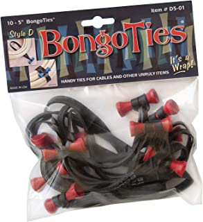 "BongoTies RED & BLACK""Lava"" Bongo Ties ~ 10 Pack""Style-D"" ~ HANDY TIES FOR CABLES AND OTHER UNRULY ITEMS"