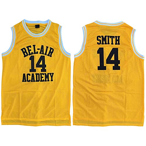 d8f7bc1aa041 MVG ATHLETICS Smith  14 Bel Air Academy Throwback Basketball Jersey  Embroidery Yellow S-XXL