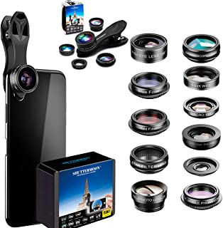 Phone Camera Lens 5 in1 Kit for iPhone Xs/R/X/8/7/6s Pixel, Samsung. 2xTele Lens Zoom Lens+198°Fisheye Lens+0.63XWide Angl...