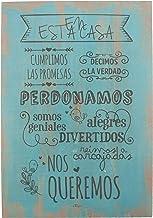 Enkolor/Cuadro Madera/Frases positivas/Normas de la casa/Artesanal/Azúl/40X60cm.