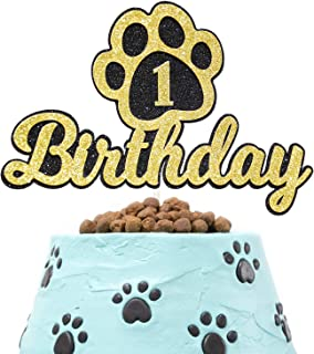 1st Dog Paw Happy Birthday Cake Topper Gold Glitter Paw Patrol Puppy Dog Theme Photo Decor Picks for Baby Shower Birthday Party One Year Old Decorations Supplies