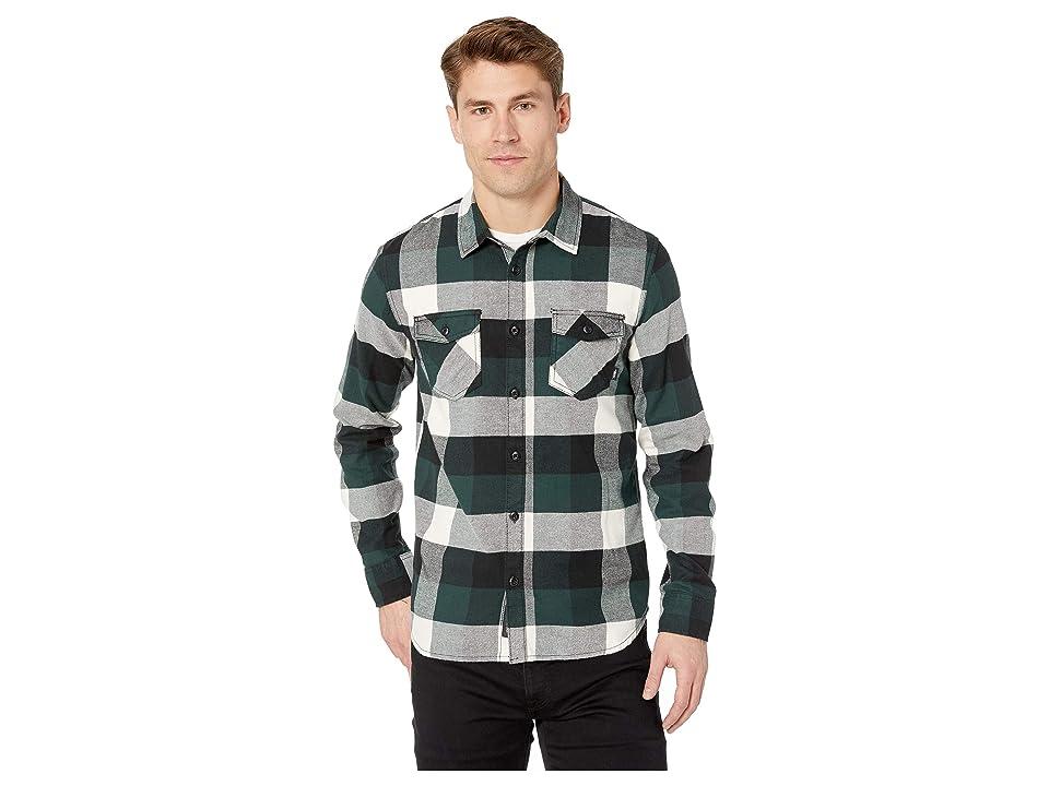 Vans Box Long Sleeve Flannel (Darkest Spruce/Natural) Men